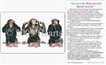 WA-198 See No Evil, Hear No Evil, Speak No Evil - The Three Wise Monkeys - Wallet Altar