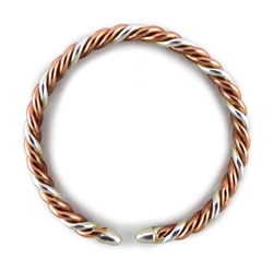 pure silver and copper wire twist bracelet