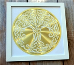 14in white framed Celtic Tree of Life 18K Gold Plated Healing Grid
