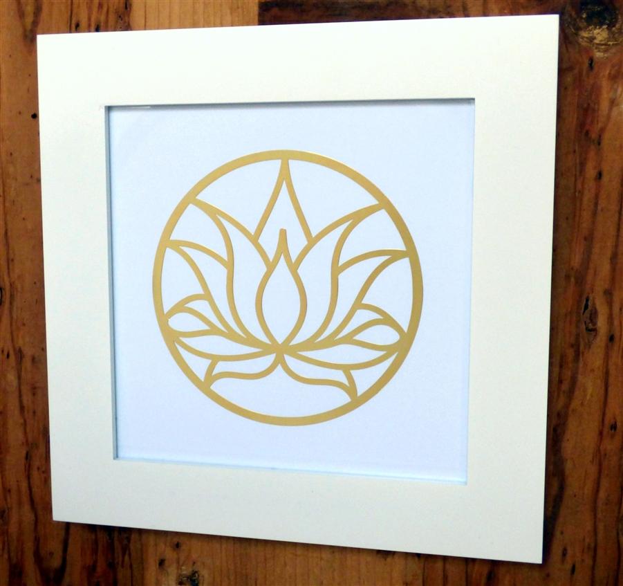 Wf Ya 676 Framed Lotus Flower Cut Out 18k Gold Plated Healing Grid
