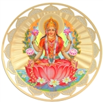 lakshmi double sided devotional icon with 18k gold plating and full color printing