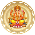 ganesh double sided devotional icon with 18k gold plating and full color printing