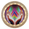 reiki double sided icon with 18k gold plating and full color printing