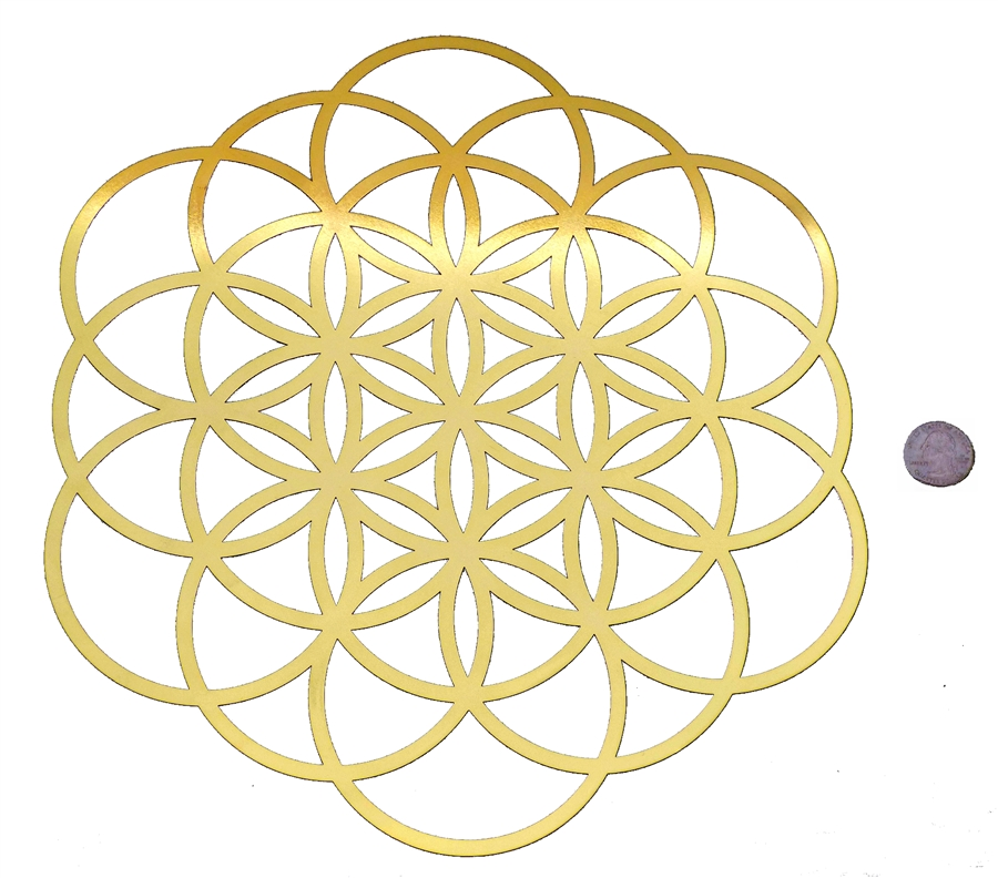 YA-12106 Seed of Life/ Flower of Life 18K Gold Plated Healing Grid