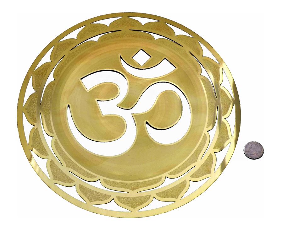 YA-1254 Om Mandala 18 karat gold plated flower of life wall art