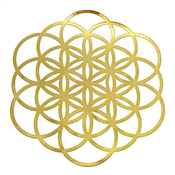 18k 6in Gold plated Seed of Life/ Flower of Life Healing Grid