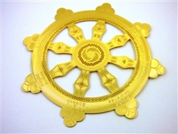 Wheel Of Dharma with Detail 18kt Gold Plated Icon