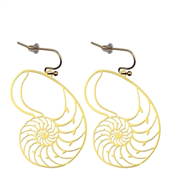ER-07 Nautilus 18kt Gold Plated 30mm Earrings
