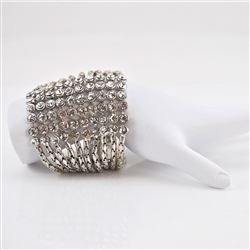 Crystal and Silver Multi-Chain Bling Cuff Bracelet