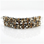 Bracelet Chunky Topaz Crystal Black Leather