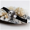 Contemporary Black Leather and Silver Bracelet