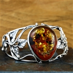 Ornate Baltic Amber and Silver Cuff Bracelet