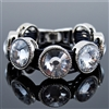Chunky Crystals On Black Leather Bracelet