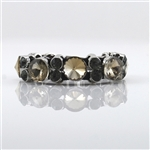 Topaz and Smoky Crystals on Leather Bracelet