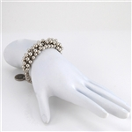 Silver Bead Bracelet with Medallion Clasp