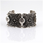 Silver Ornate Bracelet with Charm