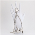 Hammered Silver Oval Solid Link Chain Braceling
