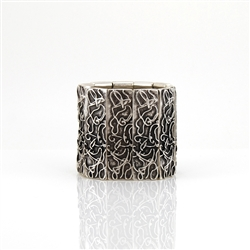 Silver Ornate Cuff Bangle Bracelet