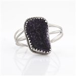 Dark Amethyst Cuff Bracelet Set in Rhodium