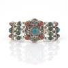 Tibetan Bracelet with Silver, Turquoise, Jade and Coral