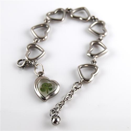 Stainless Steel Four Leaf Clover Heart Charm Bracelet