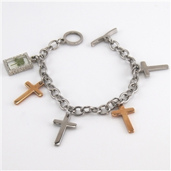 Cross and Four Leaf Clover Charm  Bracelet Featuring Two-Tone Stainless Steel and Gold