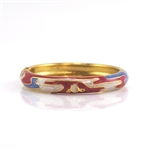 Red, White and Blue Gold and Enamel Bangle Bracelet