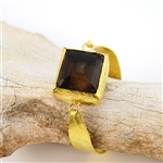 Gold Vermeil Smoky Topaz Colored Crystal Bangle Bracelet
