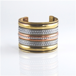 Cuff Bracelet Brass Silver Copper Striped