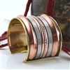 Cuff Bracelet Copper Silver Brass Striped