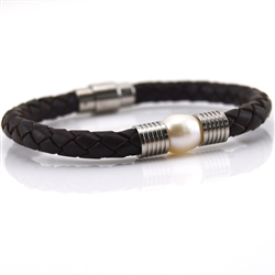 Bracelet Brown Braided Leather Freshwater Pearl