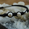 Bracelet Brown Leather  With Freshwater Pearls
