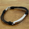 Bracelet Black Leather and Stainless Steel