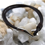 Bracelet Brown Leather Stainless Steel