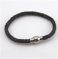 Brown Braided Leather & Stainless Steel Bracelet