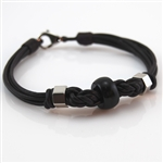 Bracelet Brown Leather Black Bead &Stainless Steel Bead
