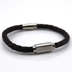 Bracelet Brown Braided Leather and Stainless Steel