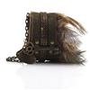 Bracelet Leather Antique Key Feather Cuff