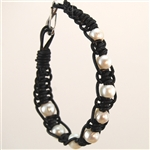 Bracelet Braided Black Leather Bracelet with Pearls