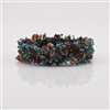 Beaded Bracelet Czech Glass Blue Leopard Skin Jasper
