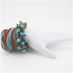 Beaded Bracelet Czech Glass Bead Turquoise Magnasite