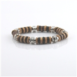 Beaded Bracelet Wood Silver Black Tan Elastic