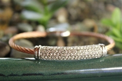 Rose Gold Cable Bracelet with Silver Accents & Cubic Zirconia