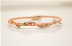 Rose Gold Cable Bracelet with Sparkling Gold Twist