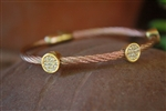 Rose Gold Cable Bracelet with Round Gold Accents & Sparkling Cubic Zirconias