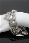 Hearts of Charm Silver Vintage Bangle Bracelet