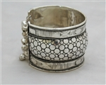 Silver Bangle Cuff Bracelet with Small Bells