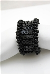 Wide Black Beaded Stretch Bracelet