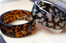 Tortoise Shell Bangle Bracelet Black & Brown