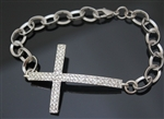 Sparkling Silver Side Cross Bangle Bracelet